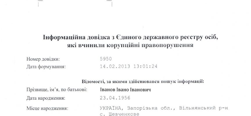 Довідка про корупцію в Києві